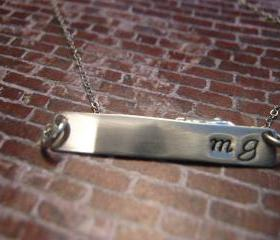 Sterling Silver Initial Necklace, Silver Bar Necklace, Monogram Necklace, Necklace with Initials, Long Bar Necklace, Personalized Jewelry